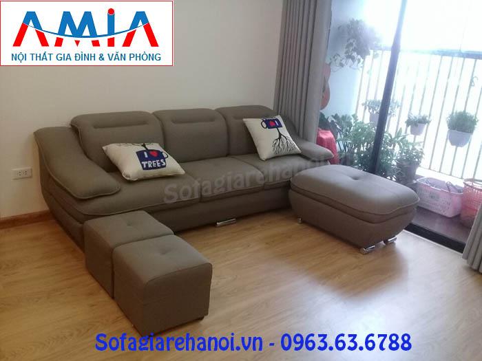 Hình ảnh cho mẫu ghế sofa văng nỉ đẹp khi bài trí trong nhà khách hàng