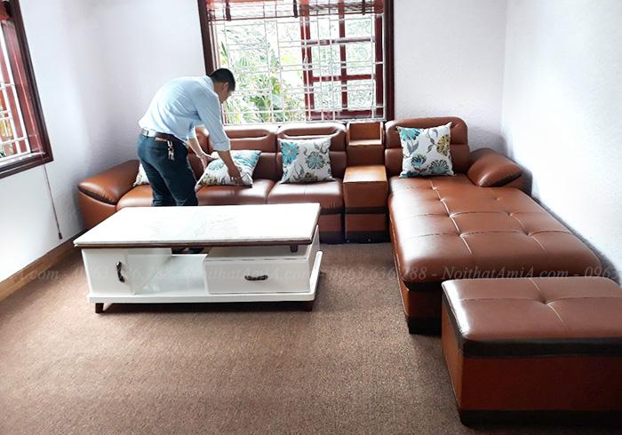 Hình ảnh Ghế sofa văng đẹp da chữ L cho không gian căn phòng khách đẹp
