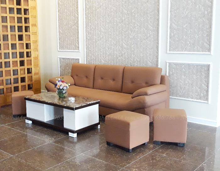 Hình ảnh Mẫu ghế sofa đẹp văng da bài trí trong không gian đẹp