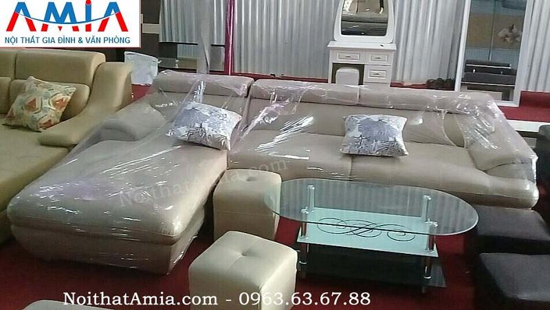 Hình ảnh cho ghế sofa da góc chữ L với gam màu nâu nhạt sang trọng và đẳng cấp
