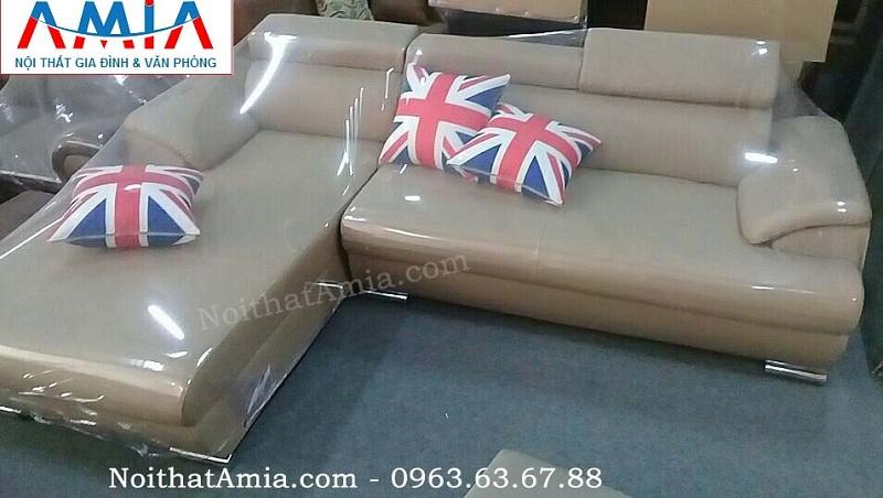 Hình ảnh cho mẫu ghế sofa da góc chữ L mang phong cách thiết kế hiện đại cho toàn bộ không gian phòng khách gia đình