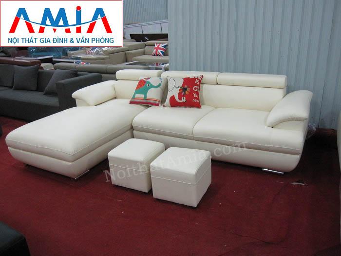 Hình ảnh cho mẫu ghế sofa da góc chữ L đẹp hiện đại với gam màu trắng tinh khiết