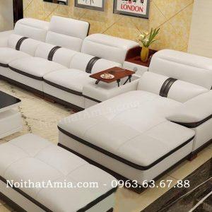Hình ảnh cho ghế sofa da phòng khách lớn đẹp hiện đại AmiA SFD106