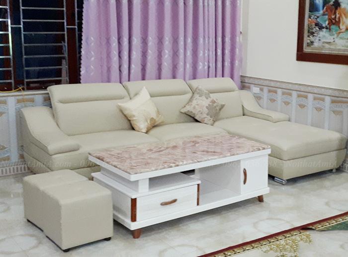 Hình ảnh Sofa chữ L đẹp hiện đại bài trí trong phòng khách gia đình