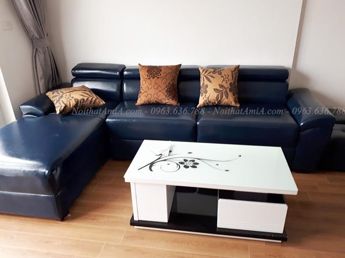 Hình ảnh Ghế sofa da chữ L đẹp màu đen sang trọng và đẳng cấp