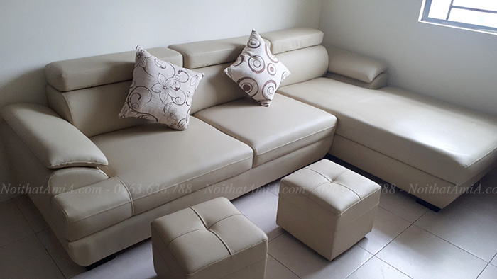 Hình ảnh Sofa da chữ L hiện đại cho căn phòng khách gia đình
