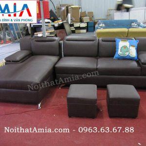 Hình ảnh cho mẫu sofa da góc chữ L 3 chỗ AmiA SFD111 đẹp hiện đại và sang trọng