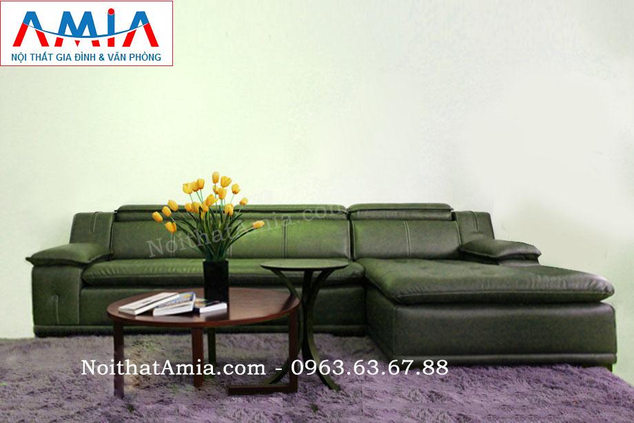 Hình ảnh cho mẫu ghế sofa da góc chữ L rút khuy AmiA SFD103 được bài trí trong không gian căn phòng khách sang trọng