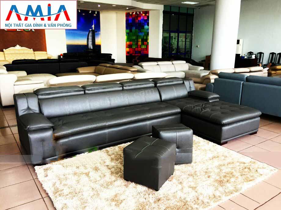 Hình ảnh cho mẫu sofa da góc chữ L vừa hiện đại vừa sang trọng được cung cấp bởi Nội thất AmiA