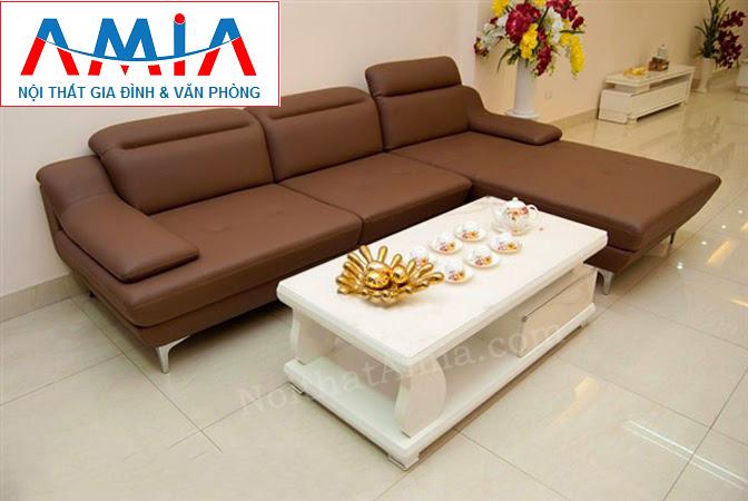 Hình ảnh cho mẫu sofa da góc chữ L 3 chỗ với thiết kế rút khuy đẹp hiện đại