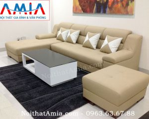 Hình ảnh cho bộ sofa da góc chữ L 4 chỗ ngồi đẹp hiện đại AmiA SFD108