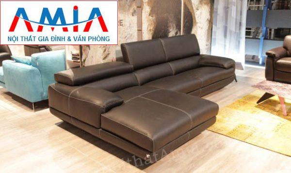 Hình ảnh cho mẫu sofa da góc chữ L màu đen đẹp hiện đại, sang trọng AmiA SFD102