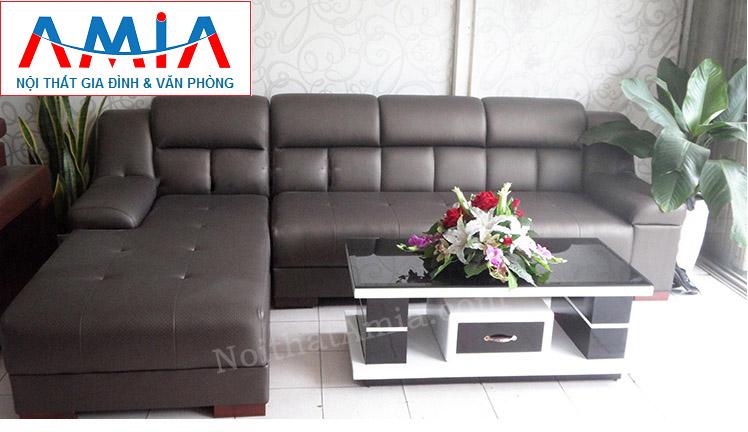 Hình ảnh cho mẫu ghế sofa da góc chữ L 4 chỗ ngồi đẹp hiện đại