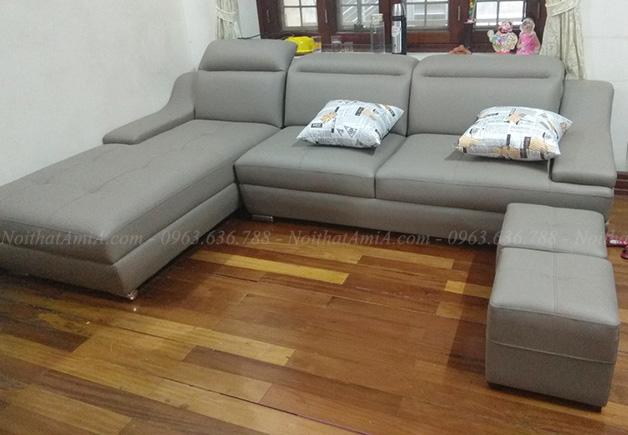 Hình ảnh Ghế sofa da phòng khách đẹp hiện đại, xinh xắn cho phòng khách gia đình Việt