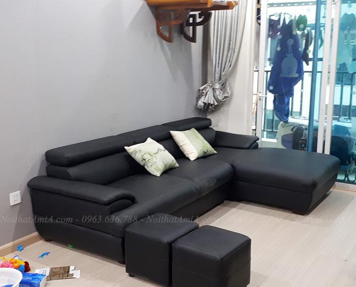 Hình ảnh Mẫu sofa đẹp da chữ L màu đen sang trọng