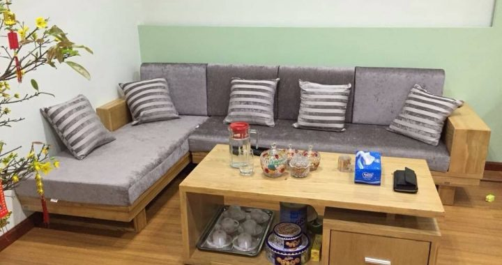 Hình ảnh cho mẫu ghế sofa gỗ góc được tích hợp thêm nệm mút