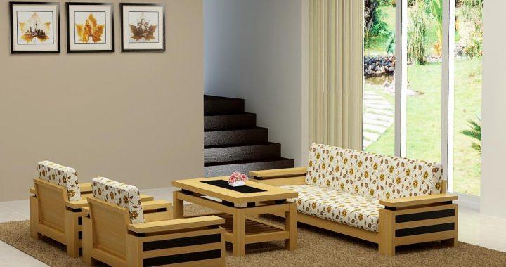 Hình ảnh cho mẫu ghế sofa gỗ phòng khách đẹp khi được tích hợp thêm nệm mút hiện đại