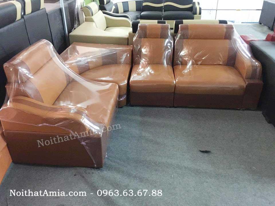 Hình ảnh cho bộ ghế sofa góc da giá rẻ đẹp hiện đại AmiA SF120