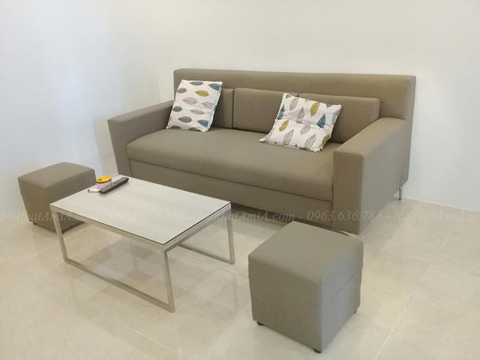 Hình ảnh Sofa văng đẹp da hiện đại nhỏ nhắn, xinh xắn