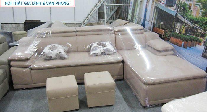 Hình ảnh cho ghế sofa da góc chữ L màu nâu nhạt hiện đại và sang trọng