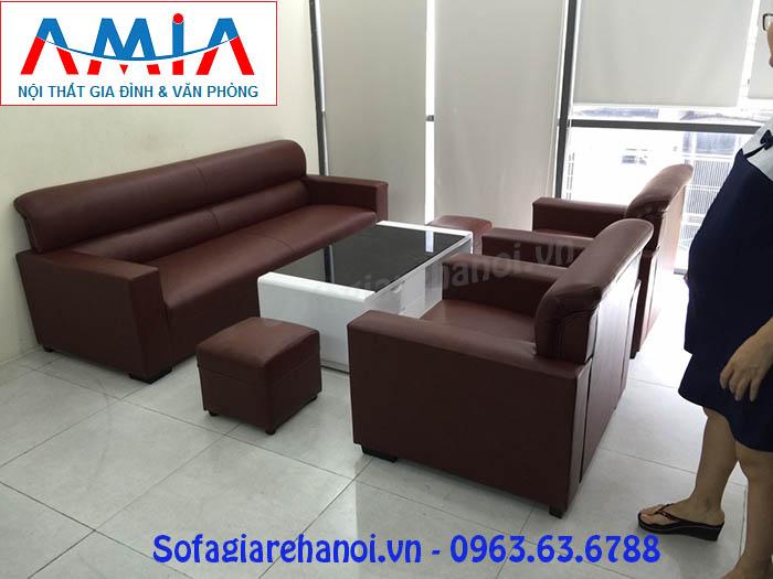 Hình ảnh cho bộ ghế sofa văng da 2m2 được đặt làm theo yêu cầu tại Nội thất AmiA