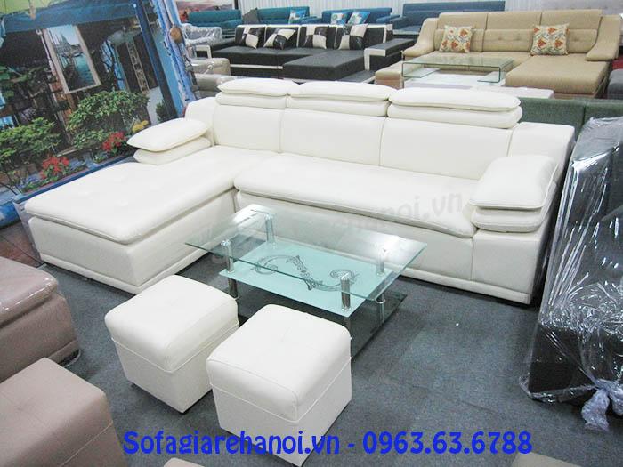 Hình ảnh cho mẫu ghế sofa da góc chữ L màu trắng đẹp hiện đại AmiA SFD121