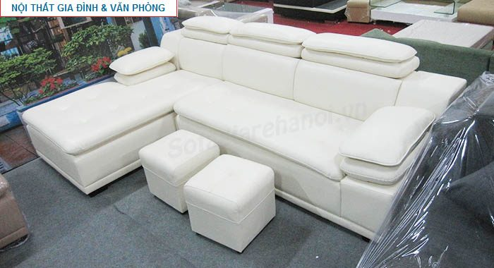 Hình ảnh cho ghế sofa da góc chữ L màu trắng hiện đại và trẻ trung với thiết kế rút khuy độc đáo
