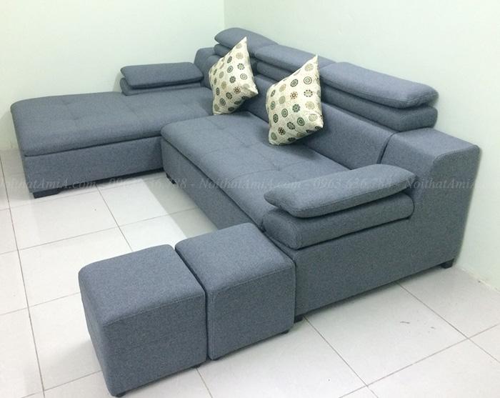 Hình ảnh Mẫu sofa đẹp chữ L thiết kế hiện đại với chất liệu nỉ và khung ghế gỗ tự nhiên