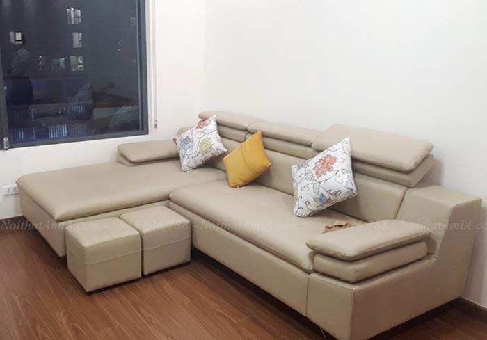 Hình ảnh Giới thiệu mẫu sofa da chữ L đẹp hiện đại trong phòng khách