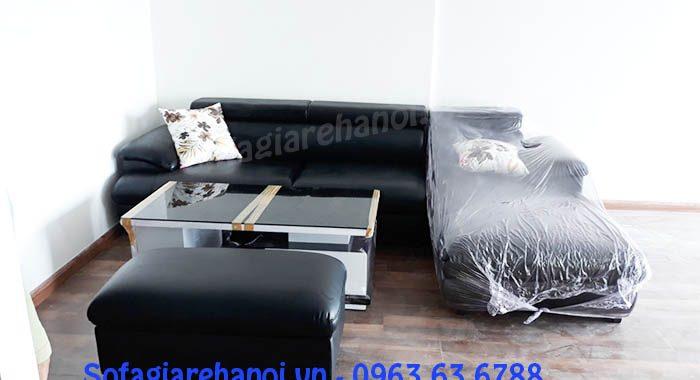 Hình ảnh cho ghế sofa da góc chữ L màu đen đẹp hiện đại