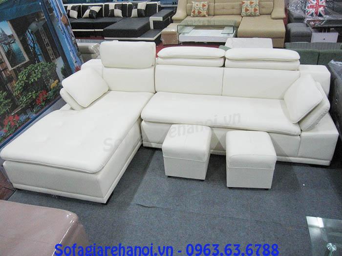 Hình ảnh cho bộ ghế sofa da góc chữ L màu trắng đẹp cho căn phòng khách sang trọng