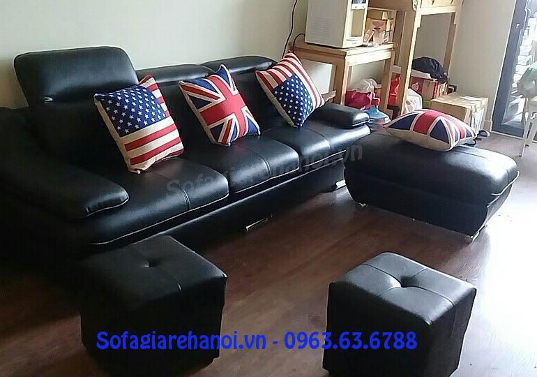 Hình ảnh cho mẫu ghế sofa văng da 3 chỗ đẹp hiện đại và sang trọng với gam màu đen hiện đại