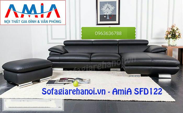 Hình ảnh cho mẫu ghế sofa da góc chữ L màu đen đẹp hiện đại và sang trọng
