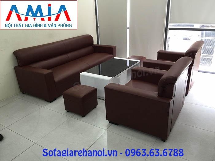 Hình ảnh cho bộ ghế sofa văng da làm kích thước theo yêu cầu khi bài trí trong phòng làm việc