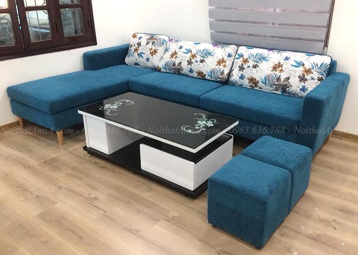 Hình ảnh Bộ ghế sofa nỉ góc chữ L đẹp hiện đại và sang trọng