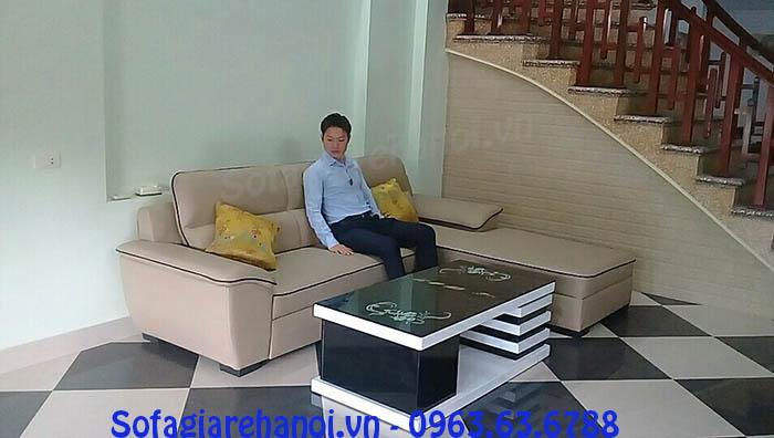Hình ảnh cho bộ sofa da góc chữ L đẹp hiện đại bài trí trong nhà khách hàng