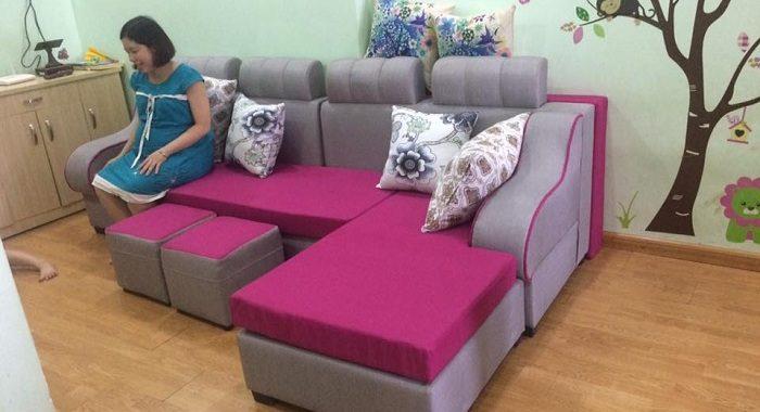 Hình ảnh cho mẫu ghế sofa nỉ góc chữ L đặt làm theo yêu cầu tại Nội thất AmiA