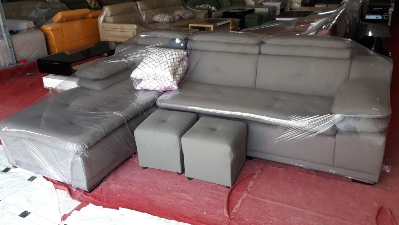 Hình ảnh cho mẫu ghế sofa da góc chữ L nhỏ giá rẻ rất hiện đại và sang trọng