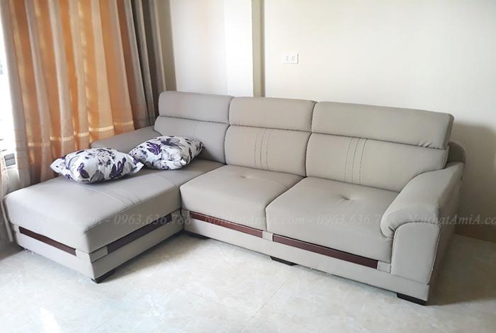 Hình ảnh Ghế sofa da đẹp chữ L trong phòng khách nhà khách hàng