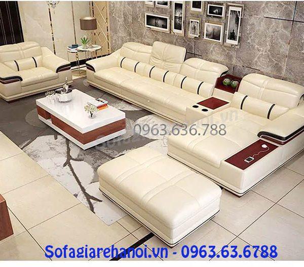 Hình ảnh cho bộ ghế sofa da góc chữ L đẹp hiện đại và sang trọng thể hiện đẳng cấp của gia chủ