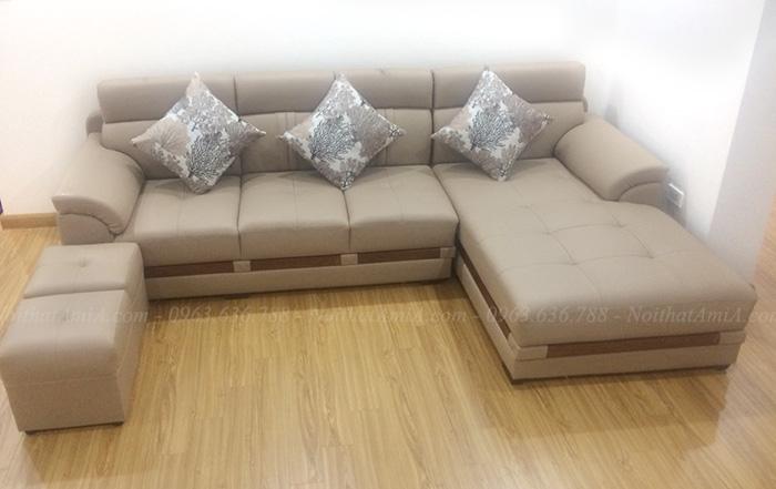 Hình ảnh Mẫu ghế sofa đẹp da chữ L hiện đại và sang trọng thiết kế 4 chỗ
