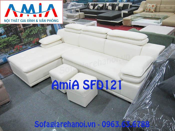 Hình ảnh cho mẫu sản phẩm ghế sofa da góc chữ L màu trắng đẹp hiện đại