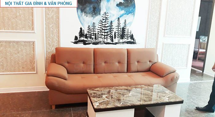 Hình ảnh sofa văng da đẹp hiện đại kết hợp bàn trà gỗ kính đẹp sang trọng