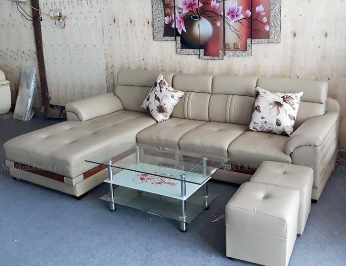 Hình ảnh Sofa da đẹp chữ L hiện đại cho phòng khách gia đình