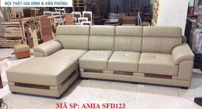 Hình ảnh cho mẫu sofa da góc chữ L đẹp hiện đại AmiA SFD123 được thiết kế với phong cách hiện đại, sang trọng và trẻ trung