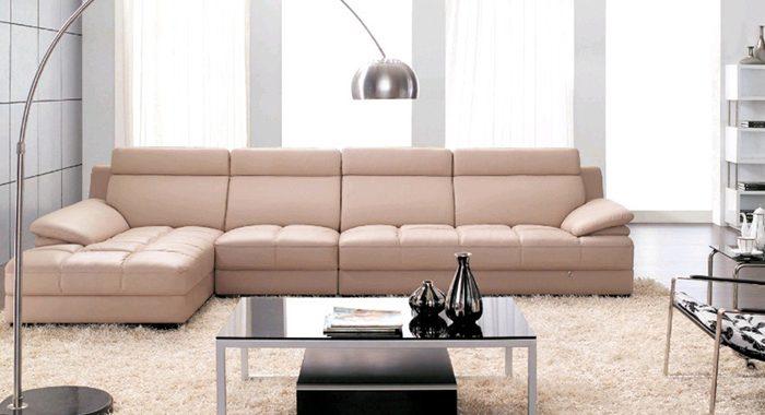 Hình ảnh cho mẫu sofa da góc chữ L đẹp hiện đại cho căn phòng khách sang trọng