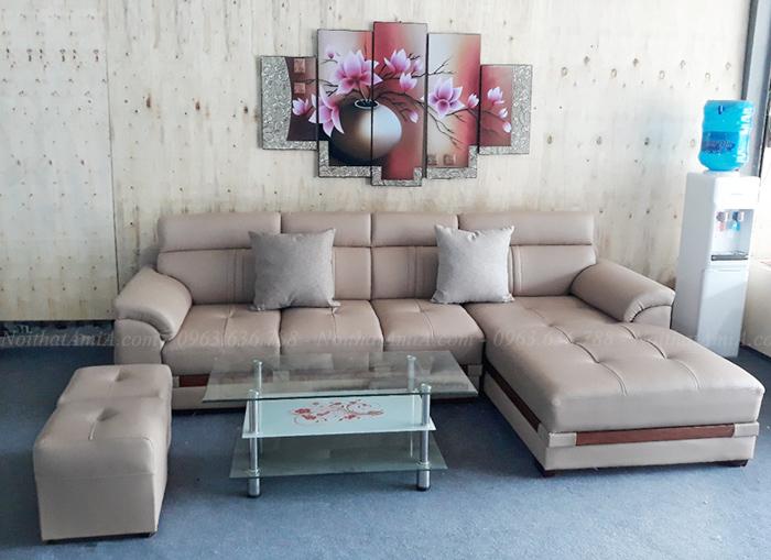 Hình ảnh Ghế sofa da góc chữ l đẹp cho căn phòng đẹp