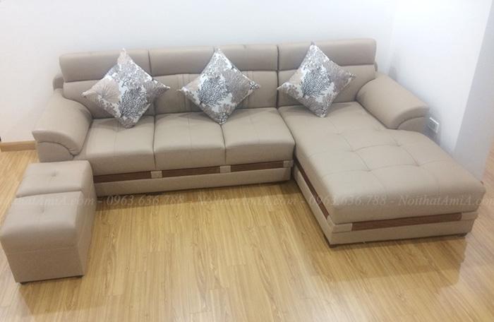 Hình ảnh Sofa da góc chữ L đẹp hiện đại cho phòng khách gia đình