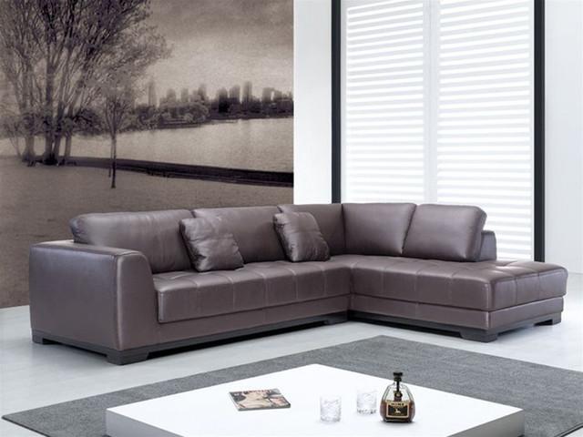 Hình ảnh cho mẫu sofa da góc chữ L nhỏ đẹp khi bài trí trong phòng khách gia đình