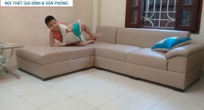 Hình ảnh cho mẫu sofa da góc chữ L nhỏ cho căn phòng khách vừa và nhỏ